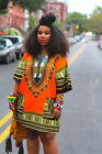 Women's Traditional African Print Dashiki Dress Short Sleeve Party Shirt Orange