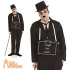 Adult Charlie Chaplin Silent Film Star Costume 1920s Mens Fancy Dress Outfit New