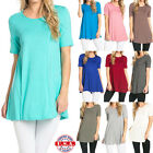 USA Women Long Tunic Length Dress Top Short Sleeve Scoop Neck Shirt S M L XL