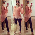 Sexy Women's Loose Chiffon T Shirt Tops Long Sleeve Summer Casual Blouse O-Neck