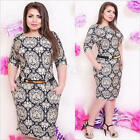Plus Size Womens Lace Bodycon Slim Long Sleeve Bandage Evening Party Mini Dress