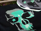 T shirt MADE TO  Match  Jordan Shoe Green Glow Retro 4 SKULL and STAR  NWT btn