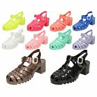 Ladies Spot On Mid Chunky Heel Jelly Sandals / Casual / Ankle Buckle