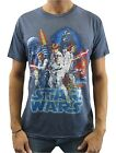 Star Wars Men's Classic Distressed Cast Art Navy Heather T-Shirt New