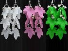 New White Pink Green Plastic Leaf Silver Color Bead Fashion Style Dangle Earring