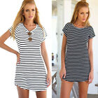 New Women Casual Dress Crew Neck Short Sleeve Striped Loose T-Shirt Mini Dress F