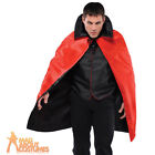 Adult Vampire Cape Black & Red Reversible Halloween Mens Fancy Dress Outfit New
