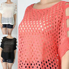 IUILE Womens Juniors Solid Off Shoulder Loose Fit Fisher Net Knit Top Beachwear