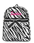 Personalized Black White Zebra Quilted Kids Backpack Book Bag Monogram Name