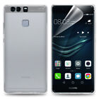 Huawei P9 Ultra Thin TPU Gel Clear Case Cover Skin with Tempered Glass / Film