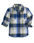 NWT Crazy 8 WINTER TRANS White Navy Yellow PLAID L/S Button Front Shirt