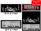 20 Personalized UNDERTALE Full-Size Hershey Candy Bar Wrappers Pre-Cut w/Foil
