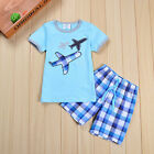 Boys' T-Shirt Set Cotton Kids' Short Blue Top Shirt  Clothing Clothes Pants Tops