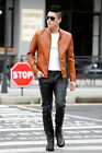 Casual Men Faux Leather Jacket Long Sleeve Young Man Stand Collar Zipper Coat