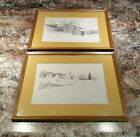 Framed Ink Illustration C M Goff 1973 & 1976 Plymouth Vermont Wintry Farm Scenes