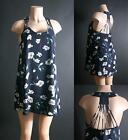 Women Sexy Navy Blue Floral  print Dual Layer Back Strappy Detailing Top S/M/L