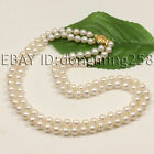 2 rows AA 7-8mm 8-9mm white black pink cultured pearl necklace s140