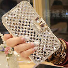 Bling Diamond Rhinestone Bow Wallet PU Leather Stand Case Cover For Huawei Phone