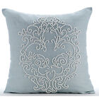 "Beaded Boroque Damask Blue Art Silk 16""X16"" Throw Pillows Cover - French Wedding"