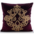Zardozi Damask Purple Euro Shams Covers, Velvet 26X26 Euro Pillow - Lord Pharaoh