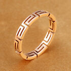All over Hollow Greek Key Motif Rose Gold GP Surgical Stainless Steel Ring J-Q