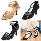 Luxury Women Black Tango Dance Shoes Satin Rhinestone Latin Ballroom Salsa Noble