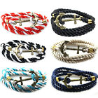 New Rope Anchor Wristband Bracelet Handmade Multilayer Women Leather Men Bangle