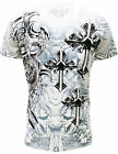 Konflic NWT Men's Crew Neck MMA Cross Muscle T-Shirt 725-WH