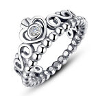 Wostu Retro Authentic S925 Sterling Silver Crown Ring with Clear CZ Jewelry