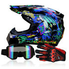 Adults Dot Motocross Off-Road Racing Motorcycle ATV S-XL Helmets+Goggles+Gloves
