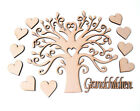 Wooden MDF Tree Shape Family Tree with Hearts & 'Grandchildren' word Frame Tree