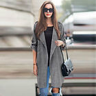 Women Trench Plus Size Loose Long Sleeve Lapel Outwear Overcoat Jacket Coat