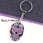 FUNKY LARGE MEXICAN SUGAR SKULL KEYRING KEYS EVIL ZOMBIE DAY DEAD QUIRKY GIFT