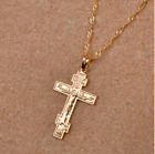 Orthodox Russia Greek Cross Christian Necklace Chain Pendant Gold Silver Plated