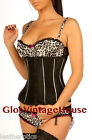 Black Underbust Satin Corset Basque Waist Trainer 1811 Stripe