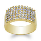 Ladies 14K Yellow Gold 5.3mm Beautiful Band Ring with Clear CZ Size 5-10