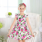 NEW Baby Girls Elegent Cotton Prom Dress in Floral Print Pink - Size 0/3M to 6