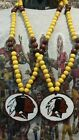 "NFL Mardi Gras Necklaces With HandMade Clay Pendant 7mm 33"" New"