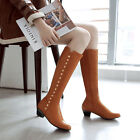 Womens Zip Casual Rivet Med Heel Knee High Boots Shoes AU Size 2.5--13 B268
