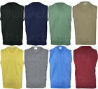 Mens Classic Plain V Neck Sweater Pull Over Tank Top Work Casual Golf