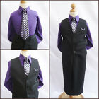 Boy black purple pinstripe graduation wedding party dress shirt vest tie set