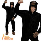 Adult Gorilla Costume Onesie Zoo Fancy Dress Outfit Funny Stag Party New
