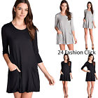 Women's Loose Fit 3/4 Sleeves Round Neck Dress Pockets  knit Jersey Tunic Tops