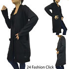 USA Women's Long Sleeve Open Closure Cardigan Jacket Side Pocket Outer Top S M L