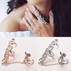 New Fashion Jewelry Chain Link Rhinestone Ring Rose Flower Double Finger Rings