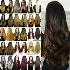 Women 3 4 Half Wig Long Straight Curly Wavy Daily Clip Hair Ombre Wigs Combs
