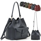 WOMENS HANDBAG SUNNYCAT DRAWSTRING SHOULDER DAY CROSS BAG REAL COWHIDE LEATHER