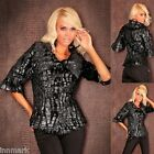 816 Elegant Redial Party Faux Fur Big Collar 3/4 Sleeve Black Jacket Size S/M