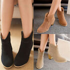 Fashion Women Ankle Boots Ladies Nubuck Leather Pointed Toe Zipper Casual 5 Size