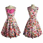 Women Vintage Style Sleeveless Floral Printed 50'S 60'S Party Housewife Dress